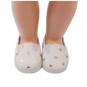 "18"" Doll Shoes - White & Gold Star Slip On Sneakers"