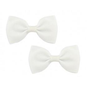 Bow Hair Clips - (2pc) - White