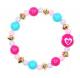 Pink Poppy Fashion Beads Bracelet - Blue