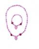 Pink Poppy Heart and Rose Bracelet & Necklace set