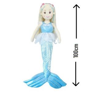 Mermaid Doll - 100cm - Blue (with flower hair garland)