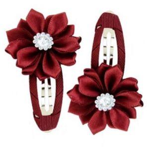Gem Flower Hair Clips (2pc) - Red Wine