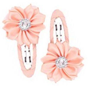 Gem Flower Hair Clips (2pc) - Peach