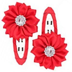 Gem Flower Hair Clips (2pc) - Red