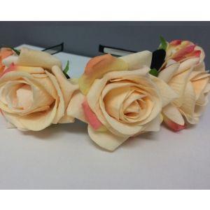 Large Flower Rose Headband - Apricot