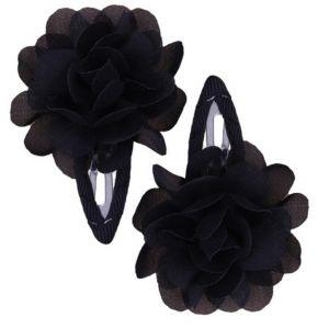 Ruffle Hair Clips (2pc) - Black