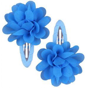 Ruffle Hair Clips (2pc) - Aqua