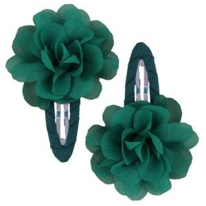 Ruffle Hair Clips (2pc) - Forrest Green