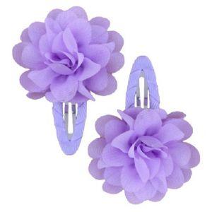 Ruffle Hair Clips (2pc) - Lilac