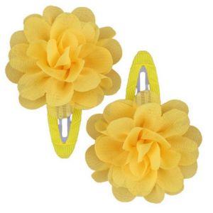 Ruffle Hair Clips (2pc) - Yellow