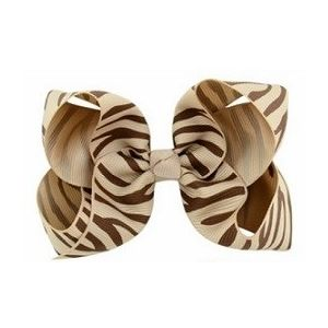 Zebra Print Bow Hair Clip - Champagne