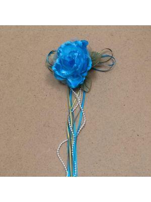 Flower with Ribbon - Aqua