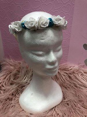 Flower Garland - Aqua with White
