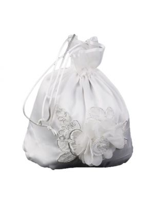 Satin Bag - White - Flower