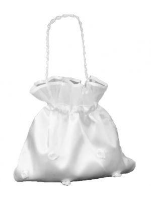 Satin Bag - White - Rosette