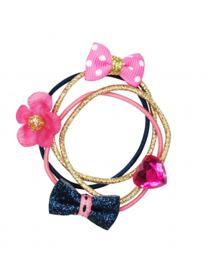Pink Poppy Bows and Blooms Hair Elastics - Black