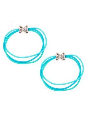 Pink Poppy Playful Cute Bow Hair Elastics - Blue