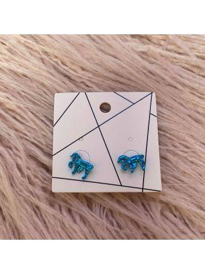 Pierced Earrings - Blue Unicorn