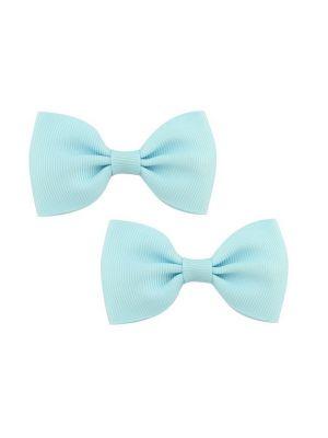 Bow Hair Clips - (2pc) -  Light Blue