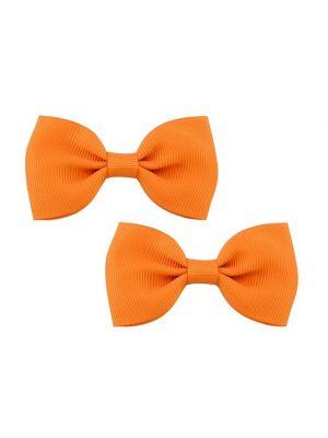 Bow Hair Clips - (2pc) - Orange