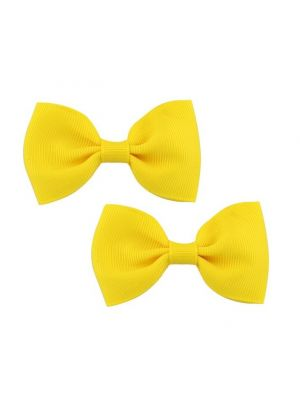 Bow Hair Clips - (2pc) - Yellow
