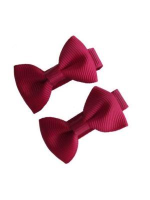 Mini Bow Hair Clips - (2pc) - Burgundy