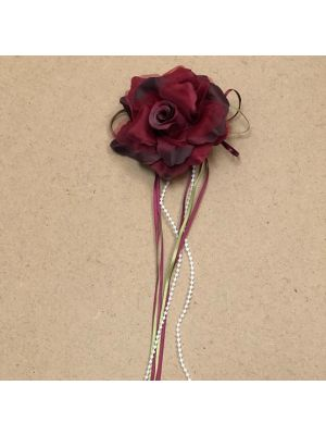 Flower with Ribbon - Burgundy