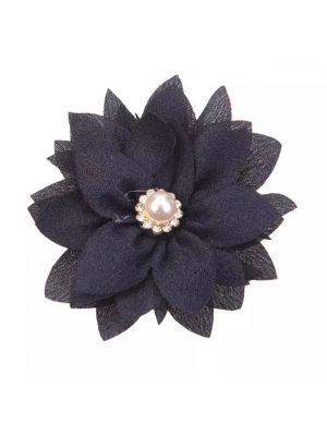 Lotus Chiffon Flower Hairclip - Navy