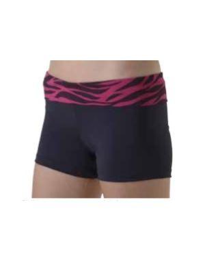 Foldover Hot Pant Zebra Print - Cerise