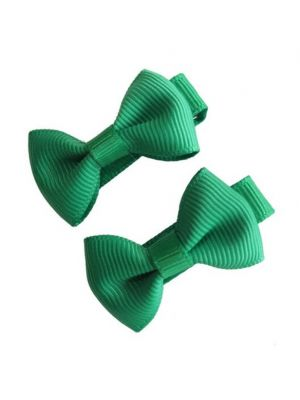 Mini Bow Hair Clips - (2pc) - Forrest Green