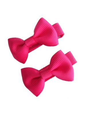 Mini Bow Hair Clips - (2pc) - Hot Pink