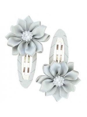 Gem Flower Hair Clips (2pc) - Grey/Silver
