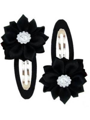 Gem Flower Hair Clips (2pc) - Black