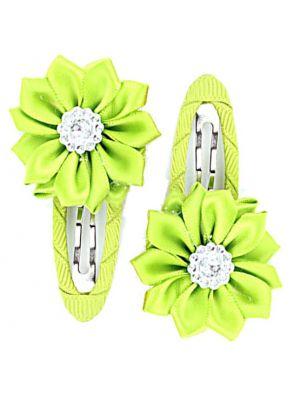 Gem Flower Hair Clips (2pc) - Green