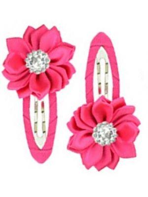 Gem Flower Hair Clips (2pc) - Hot Pink