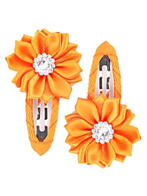 Gem Flower Hair Clips (2pc) - Orange