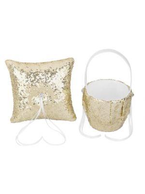 Flower Basket/Ring Pillow - Sequin - Gold