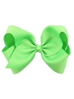 Hair Bow Clip - Lime Green