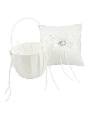 Flower Basket/Pillow - Hearts - Ivory