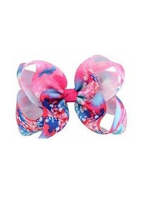 Floral Print Bow Hair Clip - Hot Pink