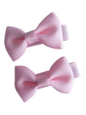 Mini Bow Hair Clips - (2pc) - Light Pink