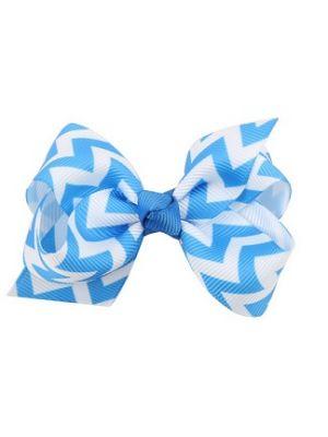 Chevron Bow - Hair Clips - Blue