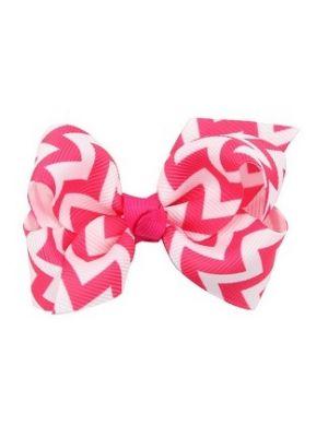 Chevron Bow - Hair Clips - Pink