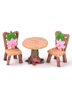 Miniatures Floral 3pc Table & Chairs Set