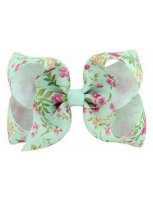 Floral Print Bow Hair Clip - Mint Floral