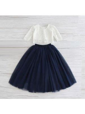 Tulle Maxi Skirt - Navy