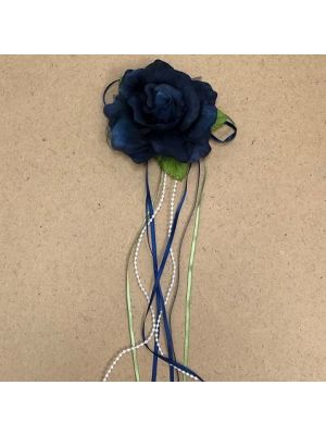 Flower with Ribbon - Navy