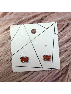 Pierced Earrings - Orange Butterflies