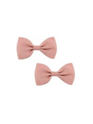 Bow Hair Clips - (2pc) - Peach