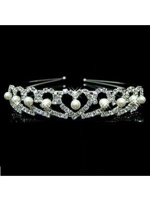 Rhinestone Headband - Pearl Hearts